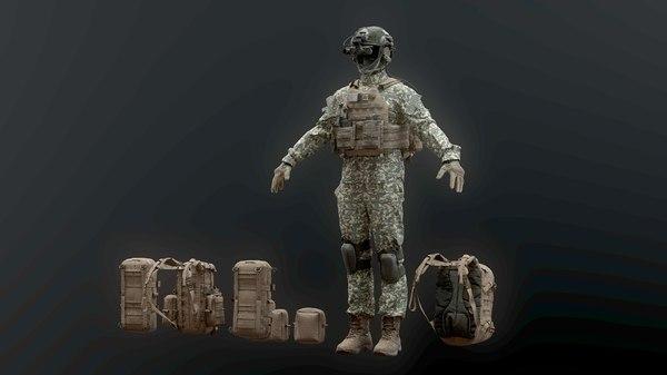 soldier boots helmet pack model