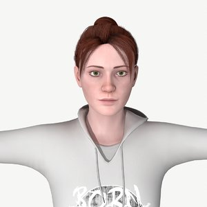 3D young woman character rigged model