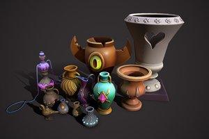 3D vase amphora