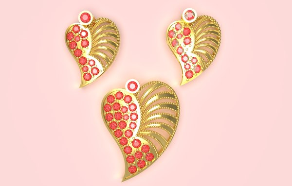 indian heart pendant 3D model