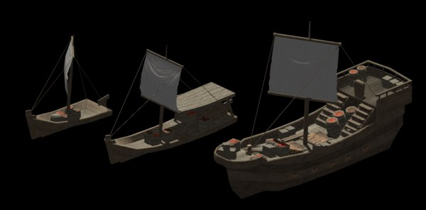 trade ships medieval 3D