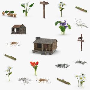 forest cabin natural 3D model
