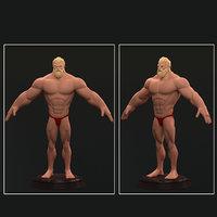 3D wrestler cartoon
