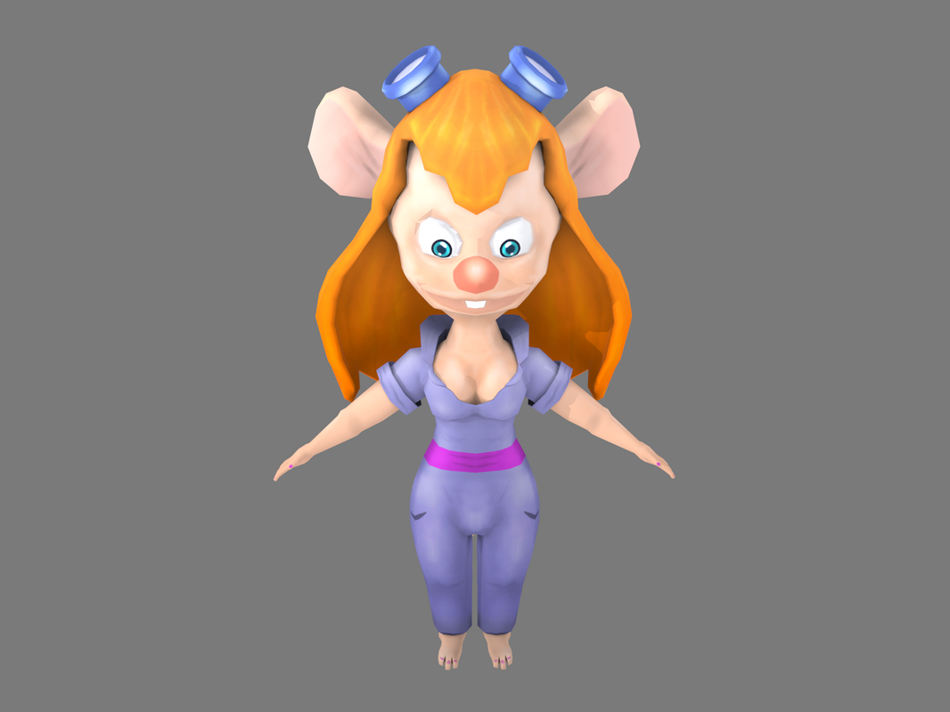 3D model girl cartoon mouse