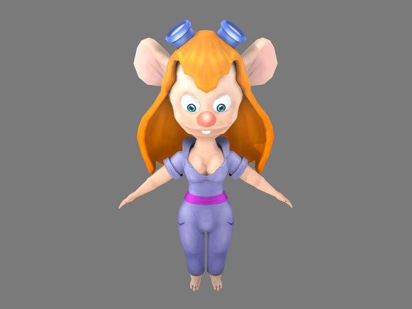 3D model girl cartoon mouse