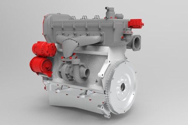 interior parts diesel engine 3D model