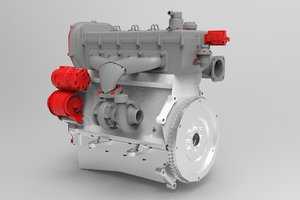 interior parts diesel engine 3D model