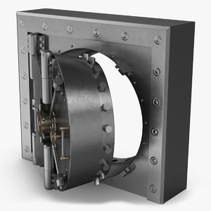 3D bank vault door open model