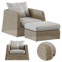 Zeya Rattan lounge Chair with Ottoman