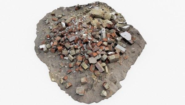 3D model brick pile 4 rubble