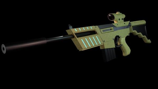 sci-fi rifle 3D model