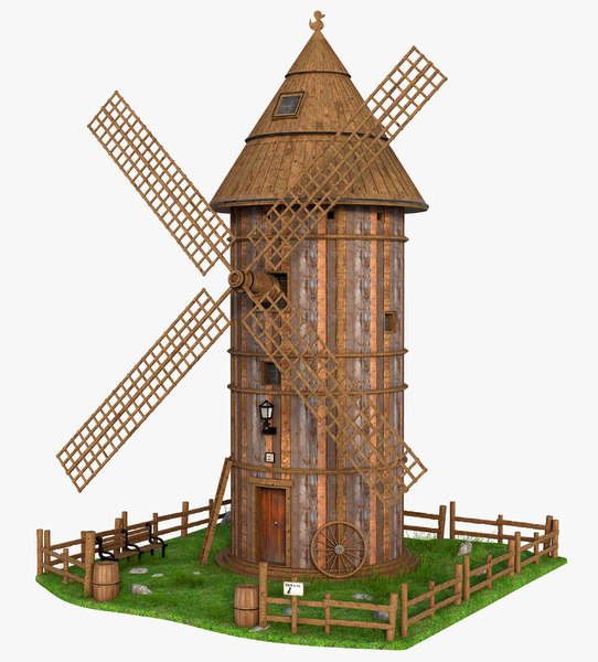 3D architecture building windmill model