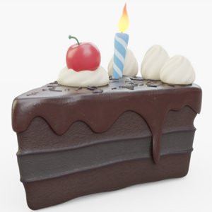3D chocolate birthday cake model