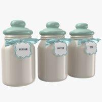 3D real kitchen jars model