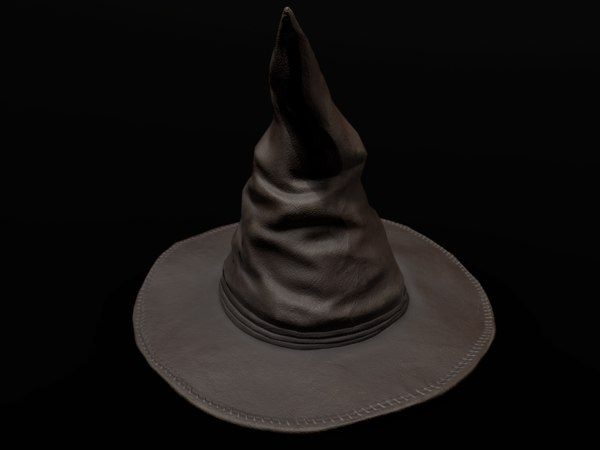 3D old leather witch hat model
