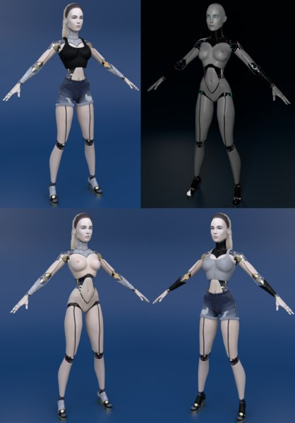 3D cyborg female skin