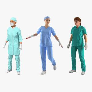 3D model female doctors 2 rigged