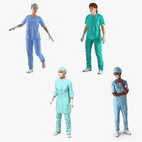 3D female doctors 3 rigged