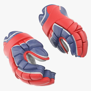 hockey player gloves rigged 3D