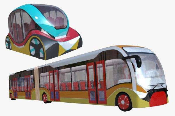3D model articulated city bus minibus