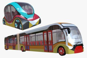 3D model articulated city bus minibus