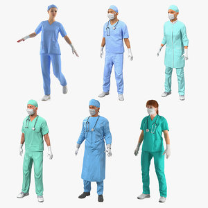 rigged doctors 2 3D model