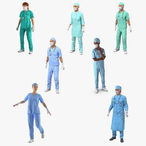 3D rigged doctors 3 model