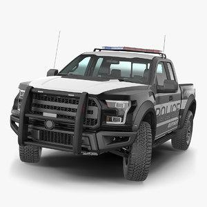 3D police pickup truck generic