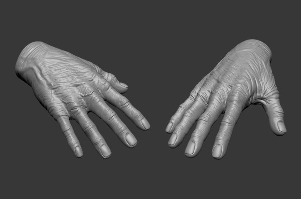 3D model old human hand
