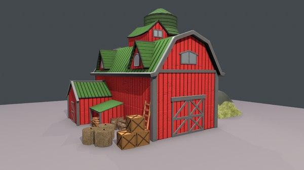 stylized cartoon barn 3D model