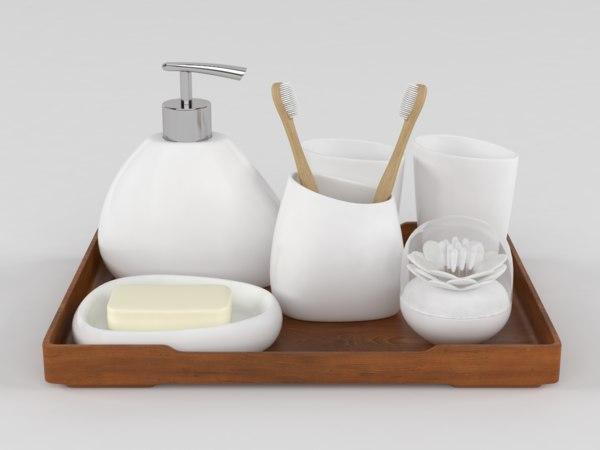 bathroom accessories set 3D model