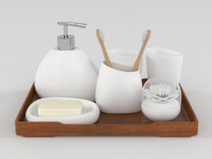 bathroom accessories set 3D model