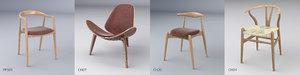3D hans wegner chairs