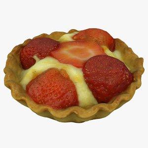 3D model strawberry tartelette cake