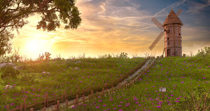 3D sunset windmill