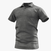 3D polo shirt grey model