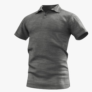 3D polo shirt grey model