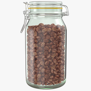 3D real coffee beans jar