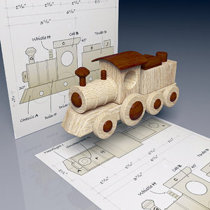 wood steam train 3D model