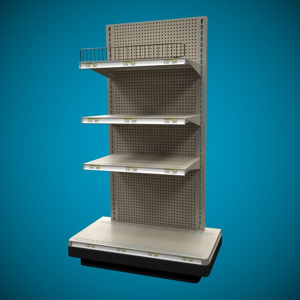 3D end cap shelves shelf model