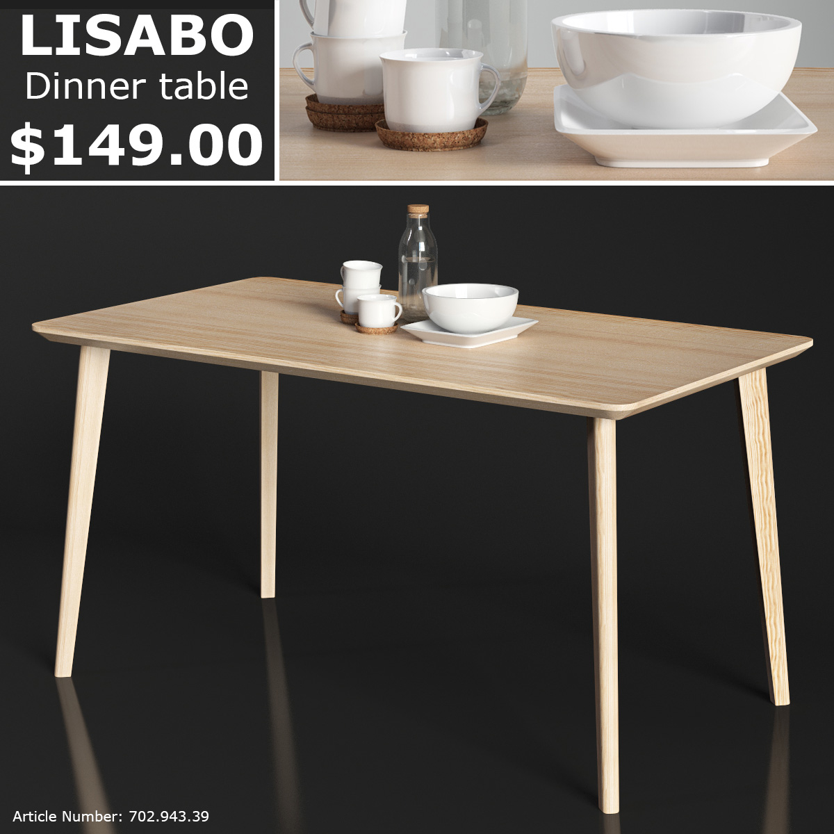 3d Ikea Lisabo Dinner Table Turbosquid 1222616