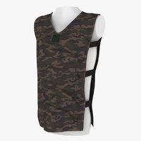 3D military short shirt model