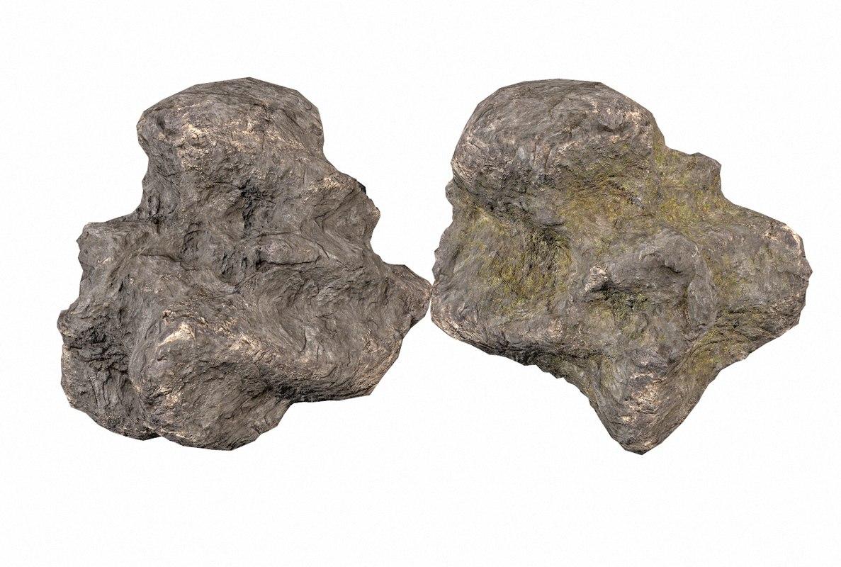 3D model pack rocks pbr moss