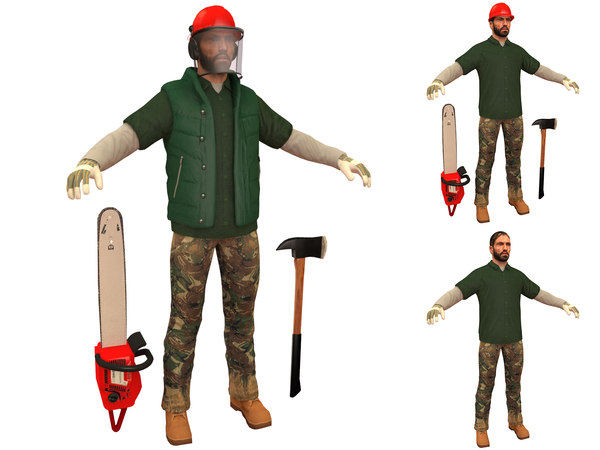 3D lumberjack man chainsaw model