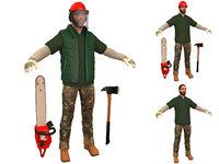 3D lumberjack man chainsaw model