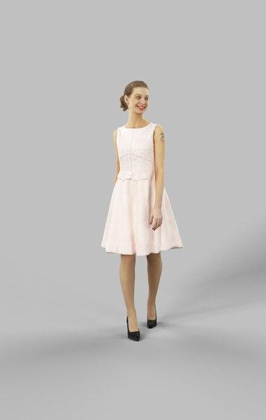 dress sideways walking 3D model