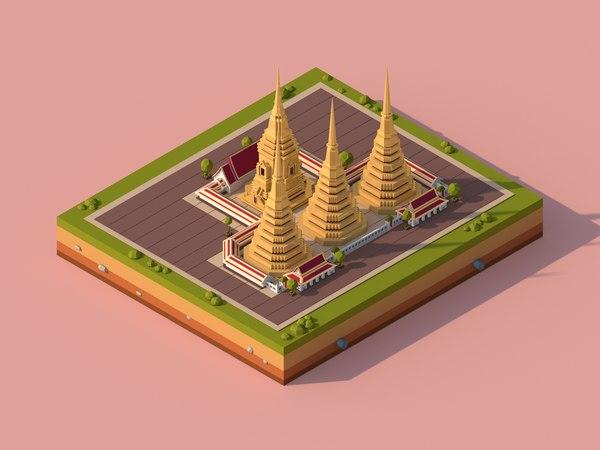 cartoon monument landmark 3D