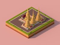 Cartoon Lowpoly Wat Pho Buddhist Temple