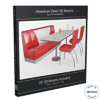3D model furniture american diners table