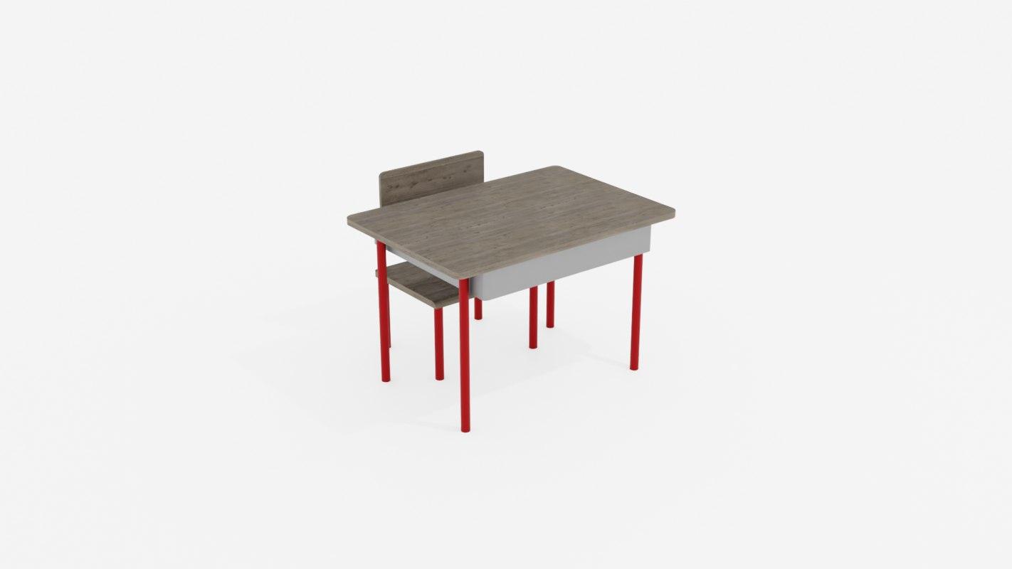 school chair desk model